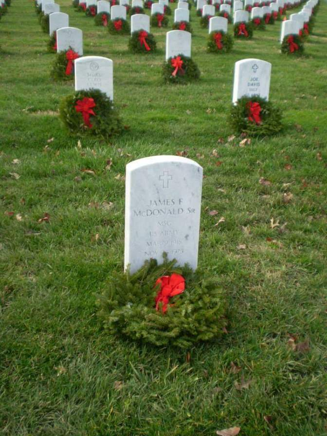 My dad, James F McDonald, at Arlington National Cemetery. He has been there since 1975 and now mom is buried on top of him.
